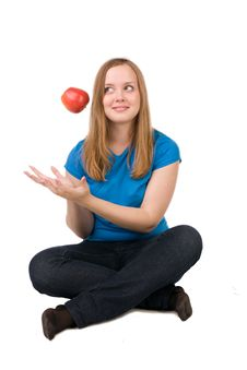 Free Girl With Apple Stock Image - 14720121