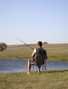 Fishman At River Bay Royalty Free Stock Photography