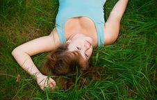 Free Beautiful Woman Lying On A Grass Stock Image - 14720621
