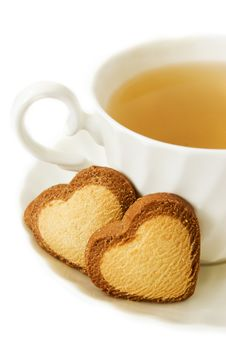 Green Tea And Heart Shaped Biscuits Stock Image