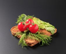 Free Dill And Tomatoes On Toast Stock Photo - 14724740