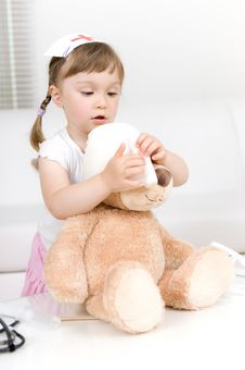 Free Little Girl Doctor With Teddy Bear Stock Photos - 14725083