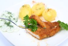 Free Pork Chop, Potatoes-some On A Fork Stock Photo - 14728400