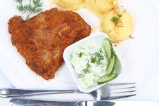 Free Pork Chop, Mashed Potatoes And Cucumber Salad Royalty Free Stock Image - 14728456