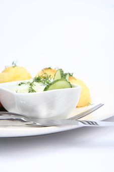 Cucumber Salad In A Bowl Stock Images