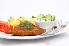 Pork Chop And Vegetables Stock Photography