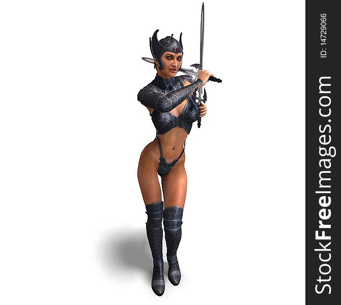 Female Amazon Warrior With Sword And Armor  3D - Free Stock