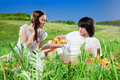 Free Beautiful Girl With Fruit And Boy Stock Photos - 14736273