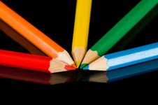 Color Pencils On Black Royalty Free Stock Images