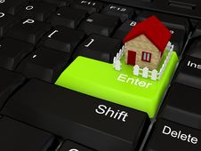 Free Keyboard - Green Key. Stock Photo - 14733450
