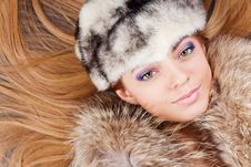 Free Young Pretty Girl In Fur Hat Royalty Free Stock Images - 14733479