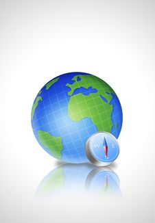 Earth Globe With Compas Royalty Free Stock Photo