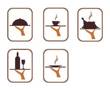 The Illustration Of The Serving Food And Drink Stock Images