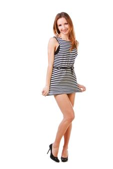 Free Young Attractive Girl In B/w Linearly Dress Royalty Free Stock Photo - 14736185