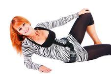 Free Beautiful Girl Lie On Floor Royalty Free Stock Image - 14736196