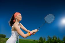 Free Beautiful Girl With Racket Royalty Free Stock Photo - 14736405