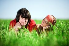 Free Girl With Boy On Grass Royalty Free Stock Images - 14736629