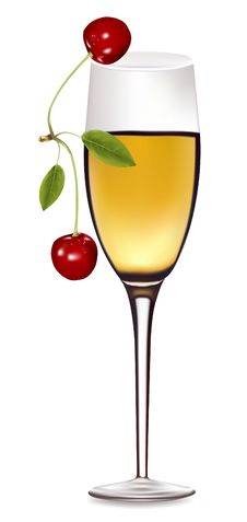 Free A Glass Of White Wine With Cherry. Royalty Free Stock Images - 14737729