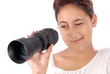 Free Girl Looking Through Lens Stock Images - 14738354