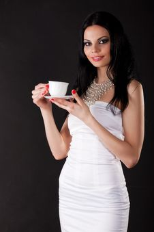 Free Beautiful Young Woman With A Cup Stock Image - 14738661
