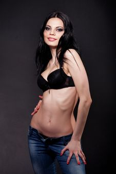 Free Hot Brunette In Lingerie And Jeans Stock Images - 14738714