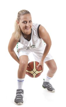 Free Active Female Basketball Player Stock Images - 14738764