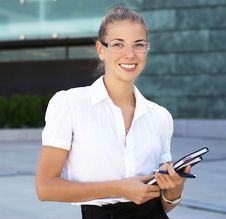 A Young Business Woman In Formal Clothes Stock Photos