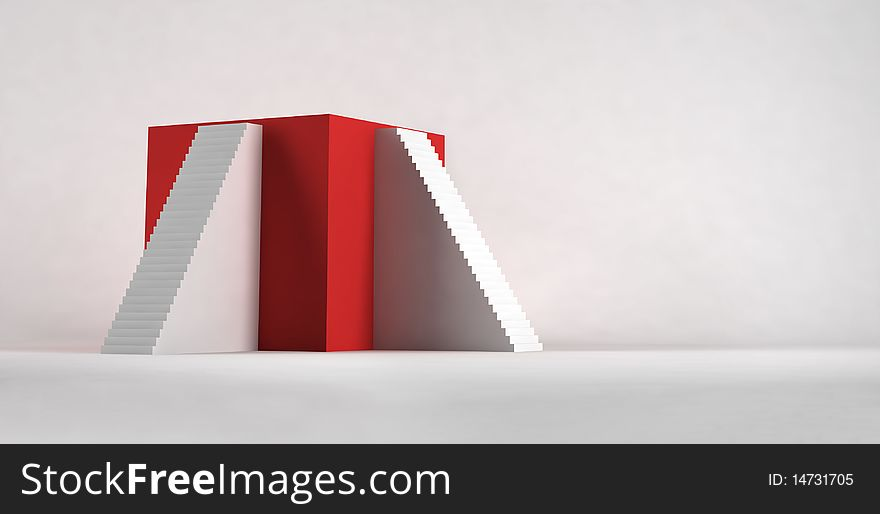 The Red cube with stairways.