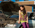 Free Young Blond Woman With Her Broken Car. Royalty Free Stock Images - 14749009