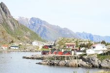 The Fjord And The Village Of Reine In Lofoten Royalty Free Stock Image