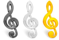 Golor Treble Clef Stock Images