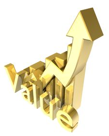 Free Statistics Graphic In Gold Royalty Free Stock Image - 14740616