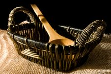 Free Basket And Wooden Spoon Stock Images - 14740774