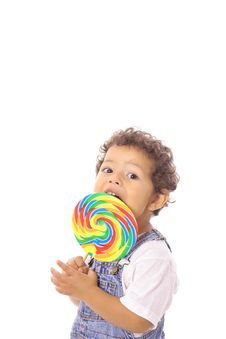 Free Child Eating A Big Lollipop Stock Images - 14740894