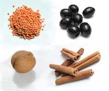 Free Food Ingredients - Lenses Olives Walnut Cinnamon Royalty Free Stock Image - 14741246