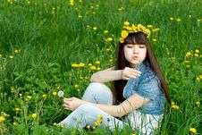Free Girl Sitting Among Dandelions Royalty Free Stock Photos - 14741318
