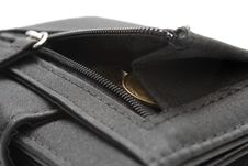 Black Wallet With Coins Royalty Free Stock Photo