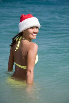 Free Woman In  Bikini And Hat Of Santa Claus Royalty Free Stock Photos - 14742538