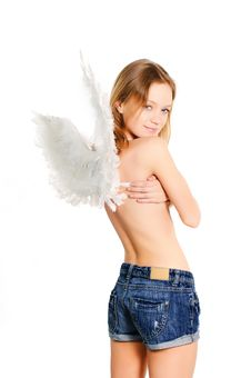Free Girl With Wings Royalty Free Stock Image - 14742626