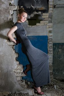 Beautiful Young Woman Posing In The Ruins Stock Photos