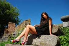 Free Amazing Beauty Sitting On Stones. Royalty Free Stock Image - 14743286
