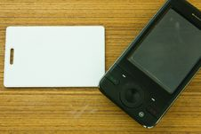 Free White Card And Black Mobile Stock Photography - 14743612
