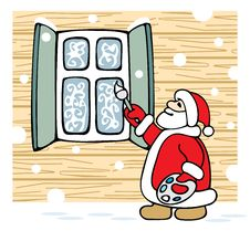 Free Santa Draws Patterns On The Window. Royalty Free Stock Image - 14744186