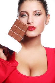 Free Woman And Bar Of Chocolate Stock Photography - 14745422