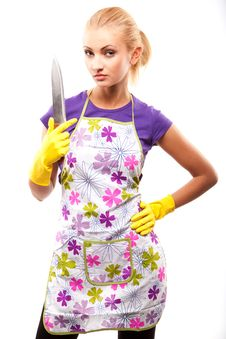 Free Housewife And Knife Royalty Free Stock Photo - 14745435