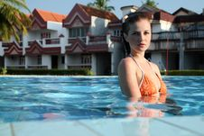 Free Woman In Swimming Pool Royalty Free Stock Photography - 14745467