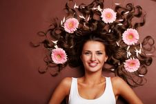Woman And Gerbera Stock Photography