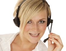 Hotline Girl Talking Royalty Free Stock Photography