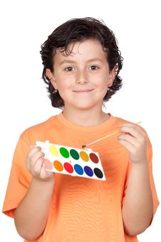 Free Nice Child With Watercolor And Brush Stock Photography - 14745682