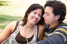Free Affectionate Hispanic Couple Portrait Outdoors Royalty Free Stock Images - 14745829